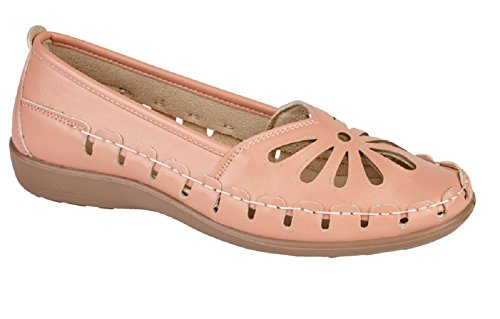 Lora Dora Womens Casual Comfort Loafers Faux Leather Driving Work Pumps Cut Out Sandals Size UK 3-8 Coral vtPzlf6D