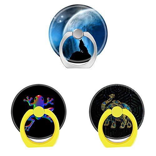 Bsxeos 360°Rotation Cell Phone Ring Holder with Car Mount Work for All Smartphones and Tablets-Disco Rainbow Frog-Gold Framed Elephant on Colorful-Howling Wolf(3 -