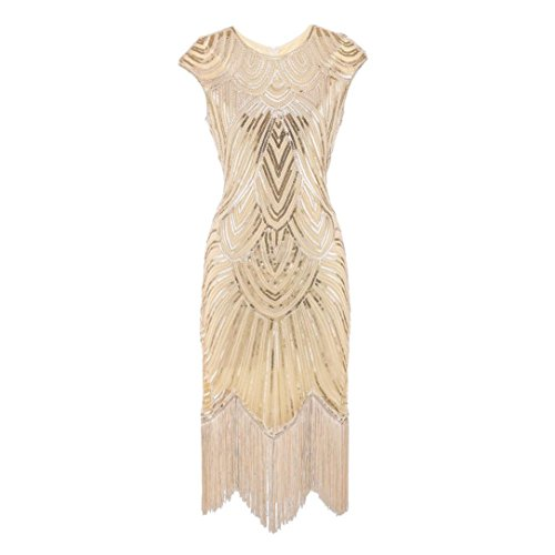 (DongDong Hot Sale!Dress Beaded Sequin Women Tassel Prom Dresses Art Nouveau Deco Flapper Dress)