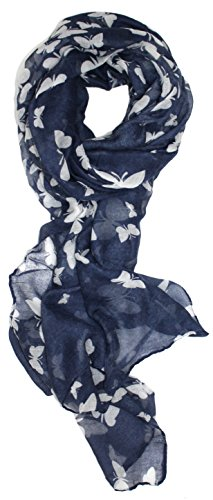 Ted and Jack - Graceful Butterflies Silhouette Print Scarf (Navy)