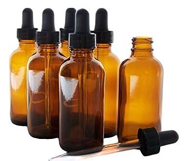 Eclectic suministro botellas de vidrio para aceites esenciales con cristal ojo cuentagotas, 2 oz capacidad