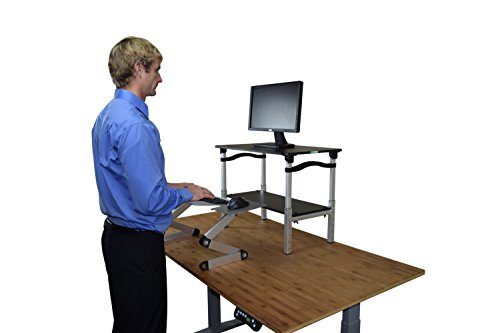 LIFT Standing Desk Conversion Kit - Tall, Affordable, Ergonomic Adjustable Height Monitor Stand + Negative Tilt Keyboard Tray (Black & Silver) by Uncaged Ergonomics