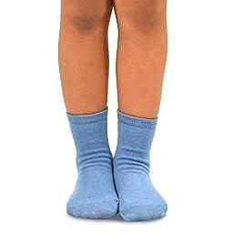 TeeHee Kids Boys Basic Cotton Crew Socks 6 Pair Pack (6-8Y, Solid)