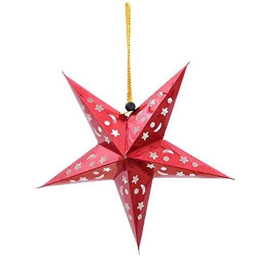 FANRENYOU 30/45/60Cm Christmas Ornaments Hall Topper Decoration Hanging Stars Pendants Xmas Tree Red 30cm ()