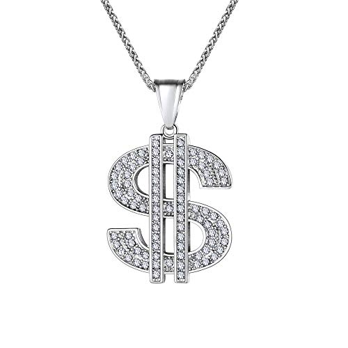 U7 Men's Dollar Sign Pendant Necklace Stainlss Steel Rhinestone Inlay Iced Out Hip Hop Jewelry with 22 Inch Chain -