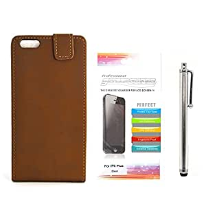 Apexel Antique Style Horizontal Flip Wallet Skin Cover Case with Touch Pen and HD Screen Protector for 5.5 inch iPhone 6 Plus - Brown