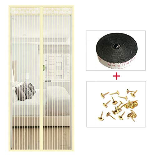 Magnetic Screen Door, Full Frame Hook & Loop with Magnet and Tape Seal Automatically Tough and Durable Easy to Install, for Patio,Yellow_90200CM (Patio A Permeable Install)