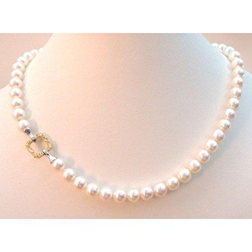 Orelù Collier Femme-Cordon-perle d'eau douce-7 5-8 Orelù en or blanc et jaune 18 carats