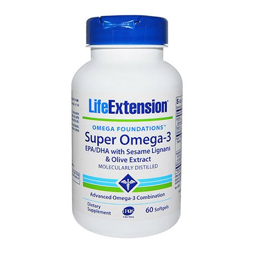 Life Extension Super Omega-3 Epa/DHA with Sesame Ligans & Olive Extract Exteric Coated Soft Gels, 60 Count