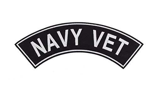(NAVY VET Black w/ White Top Rocker Iron On Patch for Motorcycle Rider or Bikers Veteran Vest)
