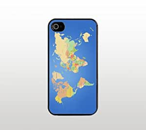 World Map Snap-On Case for Apple iPhone 4 4s - Hard Plastic - Black - Cool Custom Cover