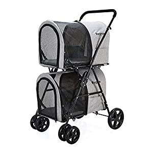 Double Pet Stroller for Small MediumDogs and Cat, Detachable Pet Carriers for Travel or Sleep