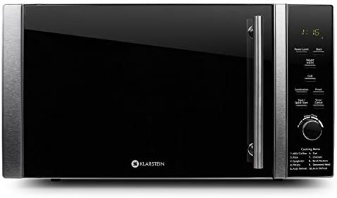 Klarstein Luminance Prime Microwave with Grill - Compact, Glass Turntable and Grill, 900W Microwave, 1000W Grill, 28 l, 12 Automatic and Combination Programs, Stainless Steel