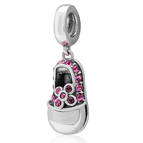 (ICYROSE Solid 925 Sterling Silver Dangling Pink Crystal Baby Shoe Charm Bead 3289 for European Snake Chain Bracelets)