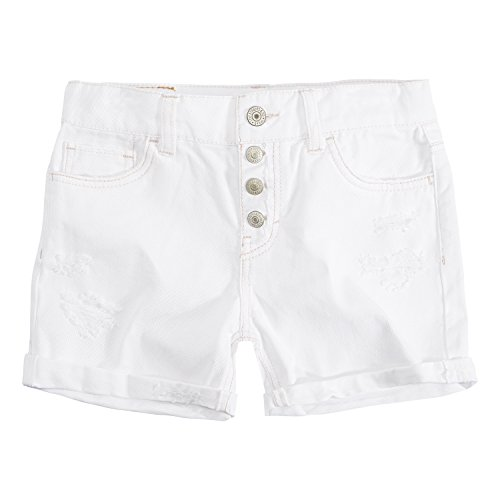 (Levi's Girls' Big Girlfriend Fit Shorty Shorts, White, 10 )