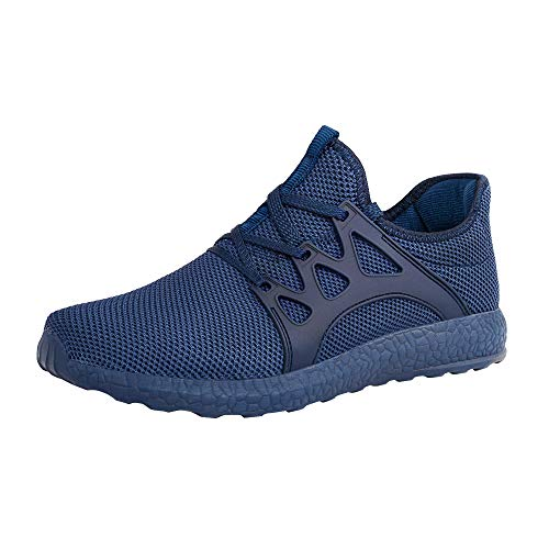 ZOCAVIA Men's Sneakers Ultra Lightweight Breathable Mesh Sport Gym Walking Running Shoes (Blue,Size9) (Best Fitting Mens Jeans 2019)