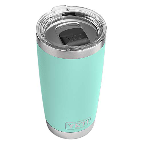 YETI Rambler 20 oz Stainless Steel Vacuum Insulated Tumbler w/MagSlider Lid, Seafoam (Best Insulated Tumbler With Lid)