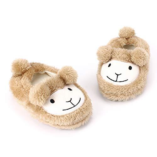 Toddler Girls Khaki Sheep House Slippers Warm Cartoon Cute Animals Shoes Rubber Sole