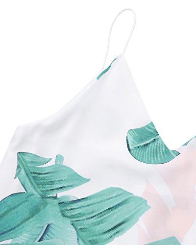 Moda Abito Foglia Spiaggia Nuovo Vestiti Bianco Floreale Corto Senza Verde Sera Sexy Dress Manica ACHIOOWA Donna Mini Casual qXw00a