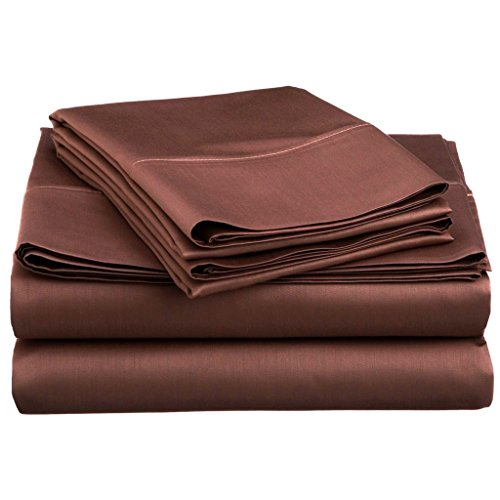 Mayfair Linen Bedding Collection 600 Thread Count Bedspread 100% Egyptian Cotton Sheet Set Sateen Weave Deep Pocket Premium Quality Bedding Set Chocolate (Egyptian Cotton 600 Thread)