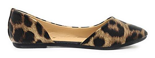 Blaue Berry EASY21 Frauen Casual Flats Ballett Knöchelriemen Mode Schuhe Brauner Leopard