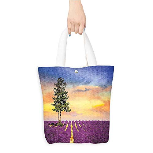 (Canvas Handbag Purple Fields Sunset Sky Large Green Tree French Village Multicolor 100% Canvas, Printed W16.5 x H14 x D7 INCH)