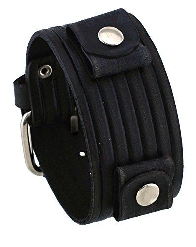 Nemesis #VEB-K Groove Pattern Wide Black Leather Cuff Wrist Watch Band