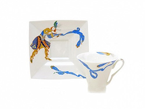 Lomonosov Porcelain Bone China Cup and Saucer Indian Dance 8.45 oz/250 ml by Lomonosov Russia