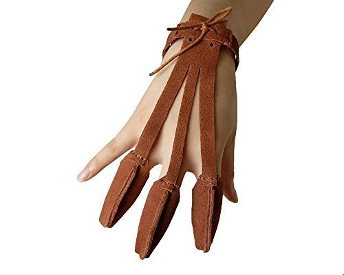 - Huntingdoor Archery Finger Guard Glove Suede Leather 3 Finger Tab Protector for Shooting Hunting Practice Left or Right Hand (Brown)
