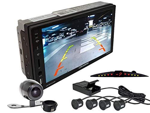 Multimidia Mp5 RS-505MP5 Com Câmera De Ré RS-121BR E Sensor De Estacionamento RS-204BR PRETO FOSCO