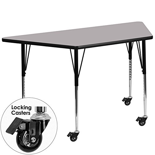 Flash Furniture Mobile 30''W x 60''L Trapezoid Grey Thermal Laminate Activity Table - Standard Height Adjustable Legs by Flash Furniture