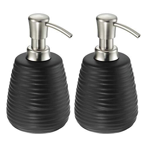 mDesign Decorative Ceramic Refillable Soap Dispenser Pump Bottle for Bathroom Vanity Countertop, Kitchen Sink - Holds Hand Soap, Dish Soap, Hand Sanitizer, Essential Oil - 2 Pack - Black/Brushed
