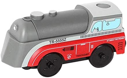 Futureshine Red Electric TrainElectric Train ToyKids Wooden Railway Electric Train Compatible for BRIO Wooden Track
