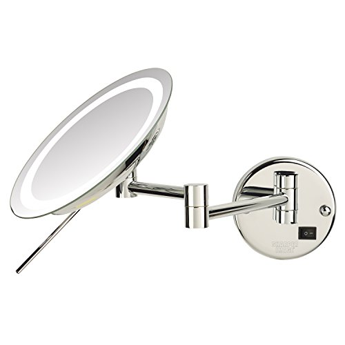 Sharper Image JRT718CL 8.5-inch Slimline LED Wall Mount 8x Magnifying Makeup Mirror, Chrome by Sharper Image (Image #1)