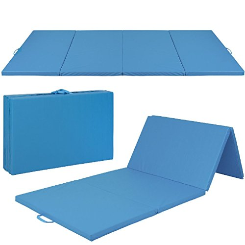 4'x10'x2'' Gymnastics Gym Folding Exercise Aerobics Mats Blue Stretching Yoga Mat by CSG Home Service
