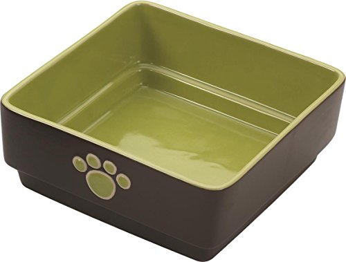 Image of Ethical Pet Products (Spot) DSO6936 Stoneware 4-Square Dog Dish, 7-Inch, Green