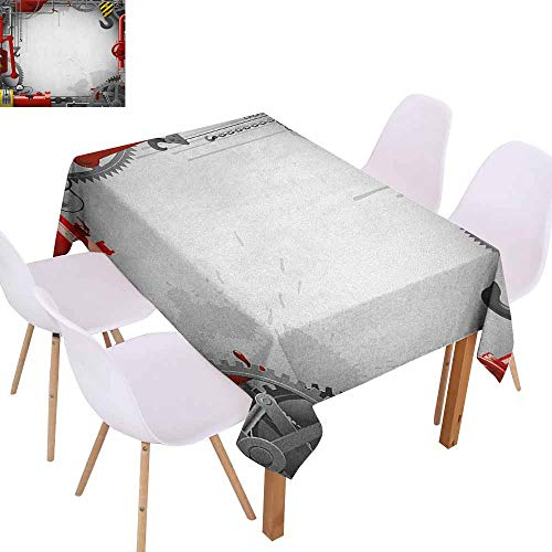 Restaurant Tablecloth Industrial Engineering Themed Gears Levers Pipes and Meters Flue Lifting Crane and Durable W60 xL102 Orange Grey Yellow