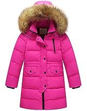 KONFA Teen Baby Girls Boys Down Jacket Winter Warm Clothes,Fur Hooded Cotton Wind Coat Snowsuit Outerwear