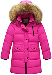 WOCACHI Girls Down Parka, Removable Hooded Coat Puffer Jackets Long Overcoat