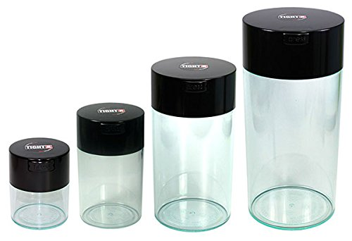 Tightvac Nested Set of 4 Vacuum Sealed Dry Goods Storage Containers, 4 Sizes: 24-Ounce, 12-Ounce, 6-Ounce, 3-Ounce, Clear Body/Black Cap