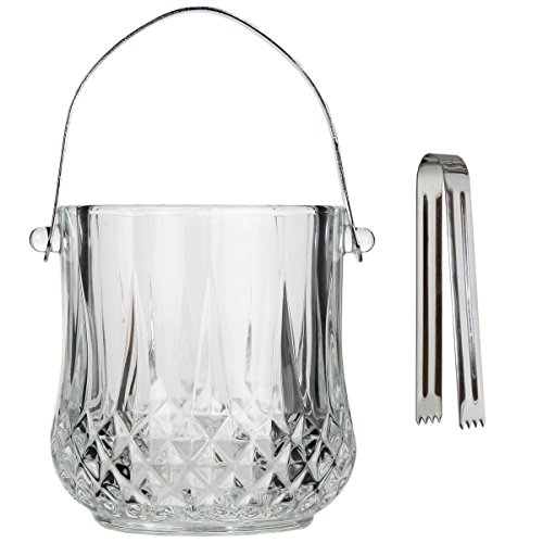 Lily's Home Glass Ice Bucket with Handle and SS Tongs, This Beautiful Piece is Ideal for Entertaining and Every Day Use by Lilyshome