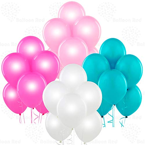 Pearl White, Pearl Pink, Pearl Fuchsia, Aqua 12 Inch Pearlescent Thickened Latex Balloons, Pack of 24, Pearlized Premium Helium Quality for Wedding Bridal Baby Shower Birthday Party Decorations Supply - Green Jade White Pearl