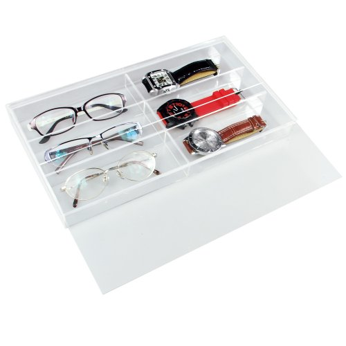 Ikee Design Acrylic Eyeglasses Watch Case For 6 Pairs with Slide-out Lid 13 1/2