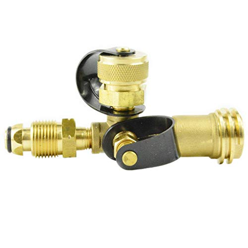 Stanbroil Propane Brass Tee with 4 Port Adapter for Motorhomes Tank RV Camping-100% Solid ()