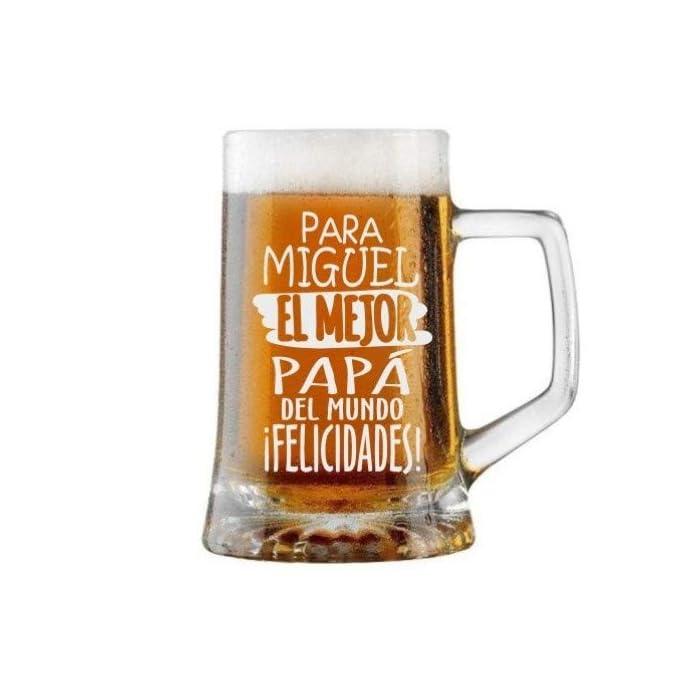 41Bw5YBnFrL Jarra de Cerveza Personalizada Día del Padre FELICIDADES MEJOR PAPÁ Regalo Grabado y Personalizado para Hombre o Mujer Obsequio Celebraciones Cumpleaños Aniversarios Día del Padre Detalle personalizado con el nombre y texto que usted quiera Regalo Práctico Elegante Divertido Novedoso y Original Jarra de Cristal de 520 Ml ENVÍO GRATIS EN 24 HORAS