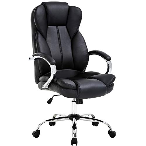 Ergonomic Office Chair Desk Chair PU Leather Computer Chair Task Rolling Swivel Stool High Back Executive Chair with Lumbar Support Armrest for Women, Men, Black