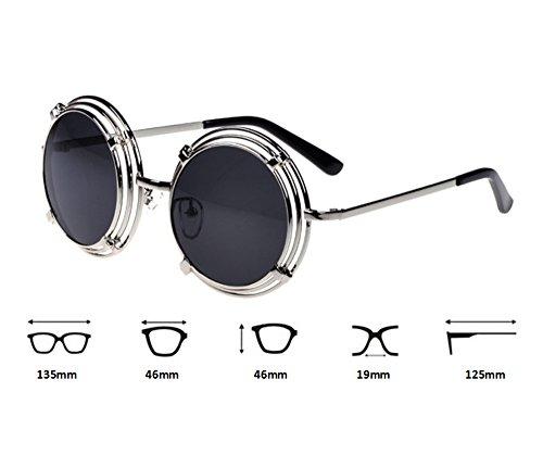 la Plata vidrios de marco Gris conduce los de que del clásica redondo Gafas de Steampunk malla sol redondas UV400 wvxqAfTW0Z