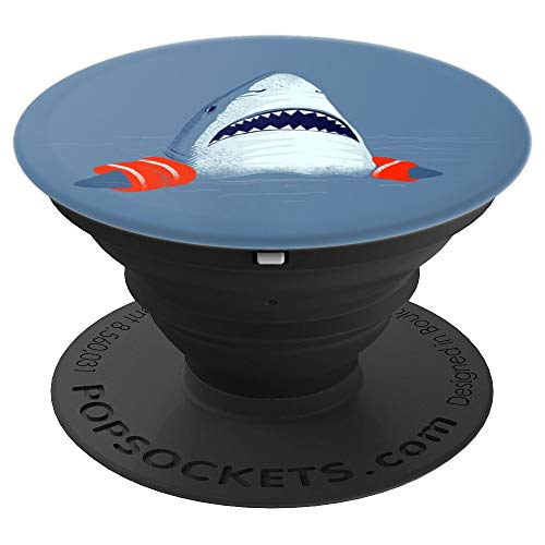 Funny blue shark swimming-float gift teacher mom dad brother - PopSockets Grip and Stand for Phones and Tablets