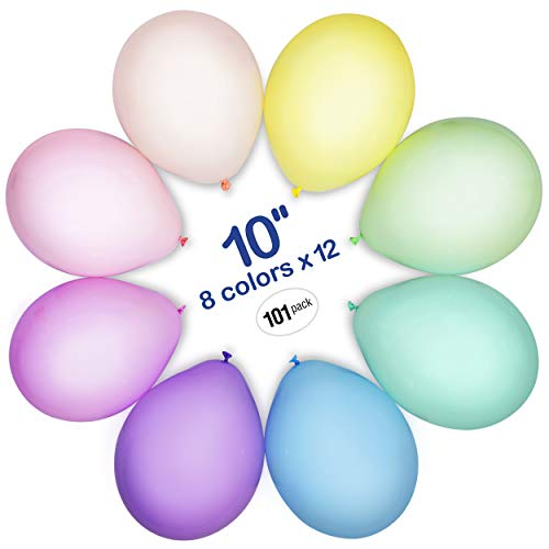 WinkyBoom Pastel Balloons - Assorted Color Balloons 10 inch 101 Count - Unicorn Rainbow Balloons -