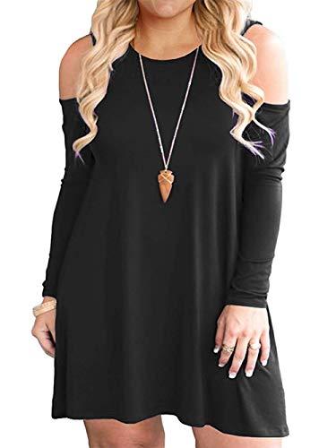 VISLILY Womens Plus Size Cold Shoulder Casual Swing T-Shirt Dress Pockets XL-4XL